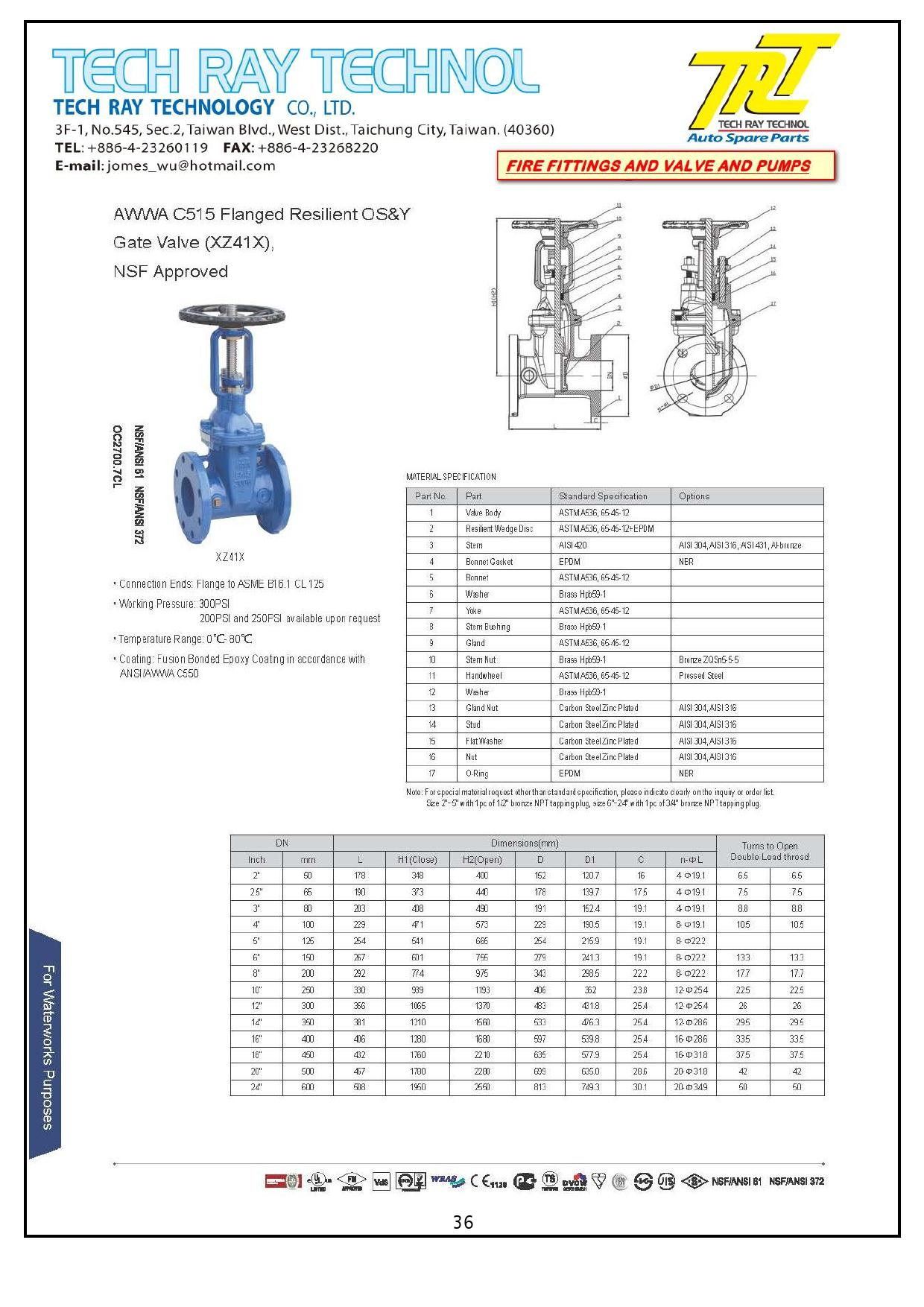 AWWA Resilient Wedge Gate Valve